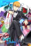 1boy 2016 bow bowtie brown_hair character_name crossed_legs dated formal gift happy_birthday jinno_(megacake) mob_psycho_100 reigen_arataka sitting solo suit sweatdrop tuxedo