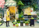 1boy apron brown_eyes brown_hair building chalkboard florist flower full_body holding_pot leaf looking_at_viewer male_focus original scenery seuga shop sign solo watering_can