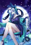1girl absurdres backlighting bare_shoulders black_gloves blue_eyes bow collarbone covering_mouth crossed_legs dress elbow_gloves eyeshadow fan folding_fan full_moon gloves glowing_butterfly heishan highres hime_cut long_hair looking_at_viewer makeup moon off-shoulder_dress off_shoulder onmyoji outdoors partly_fingerless_gloves puffy_sleeves purple_bow silver_hair sitting solo very_long_hair