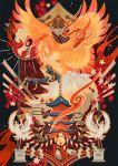b.i.a bell bird black_background egasumi fire highres ho-oh jingle_bell leaf legendary_pokemon maple_leaf orange_eyes pagoda pokemon pokemon_(creature) rope seigaiha shimenawa solo statue talons