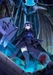 ahoge armor black_legwear blue_moon breasts cleavage cloak dragon fate/grand_order fate_(series) full_moon fur_trim gauntlets glowing grin headpiece highres holding holding_sword holding_weapon hopper impossible_clothes jeanne_alter large_breasts looking_at_viewer moon ruler_(fate/apocrypha) short_hair silver_hair skull smile standing sword teeth thigh-highs weapon yellow_eyes