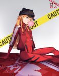 bodysuit bracer bubblegum caution_tape copybird evangelion:_3.0_you_can_(not)_redo eyepatch highres jacket long_hair neon_genesis_evangelion nerv orange_hair pilot_suit plugsuit rebuild_of_evangelion shikinami_asuka_langley sitting souryuu_asuka_langley track_jacket