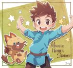 1boy arms_up brown_eyes brown_hair cat copyright_name cowboy_shot felyne floating keitomato looking_at_viewer male_focus monster_hunter monster_hunter_stories naville_(monster_hunter_stories) pointing pointing_at_viewer ryuuto_(monster_hunter_stories) signature smile spiky_hair star