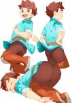 1boy ass boots closed_eyes highres knee_boots looking_at_viewer male_focus monster_hunter monster_hunter_stories multiple_views pantylines ryuuto_(monster_hunter_stories) shirt_lift shota simple_background tanaka_(tanakasunsun) top-down_bottom-up tunic white_background