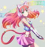 1girl axent_wear cat_girl cat_tail green_eyes hair_down headphones iesupa neon_katt orange_hair rwby tail