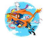anger_vein carrying character_name charizard clouds crossed_arms flying green_eyes greninja hatsuru_826 heart looking_at_another lucario mew mewtwo no_humans pikachu pokemon pokemon_(creature) princess_carry sky super_smash_bros.