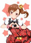 1girl black_bow bow bowtie brown_eyes brown_hair crown dress fuku_d futami_mami heart heart_hands idolmaster long_hair looking_at_viewer mini_crown prologue_rouge side_ponytail smile solo star