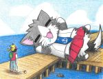 1boy agano_(kantai_collection) anchor_symbol animal_ears animalization blue_necktie cat_ears cat_tail colored_pencil_(medium) commentary_request dainamitee drooling kantai_collection kuchiku_i-kyuu male_protagonist_(pokemon_go) necktie open_mouth pier pikachu poke_ball pokemon pokemon_(creature) red_skirt school_uniform shinkaisei-kan size_difference skirt sleeping snorlax tail traditional_media