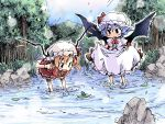flandre_scarlet frog ham_(points) multiple_girls nature oekaki remilia_scarlet river siblings sisters touhou wading water wings