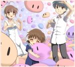 blue_hair brown_eyes brown_hair child chunpai clannad dango_daikazoku family furukawa_nagisa hair_ribbon hug husband_and_wife okazaki_tomoya okazaki_ushio ponytail ribbon school_uniform short_hair teeth