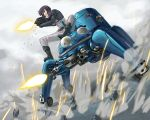 casing_ejection firing ghost_in_the_shell ghost_in_the_shell_stand_alone_complex gloves gun highres itou_(onsoku_tassha) jacket kusanagi_motoko mecha purple_hair red_eyes rifle shell_casing shell_casings short_hair sparkle tachikoma weapon