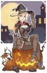 1girl alternate_costume blonde_hair breasts cleavage halloween hat highres jack-o'-lantern mercy_(overwatch) moon night overwatch pumpkin solo splashbrush witch witch_hat witch_mercy