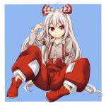 >:) 1girl abe_ranzu antenna_hair arm_garter baggy_pants blue_background bow closed_mouth collarbone dress_shirt fujiwara_no_mokou full_body grey_shirt hair_bow highres juliet_sleeves long_hair long_sleeves looking_at_viewer pants puffy_sleeves red_eyes red_pants red_shoes shirt shoes silver_hair sitting solo suspenders touhou very_long_hair white_bow