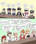 6+girls adjusting_glasses anchor_choker aquila_(kantai_collection) ascot bismarck_(kantai_collection) blonde_hair blue_eyes bow brown_eyes brown_hair closed_eyes commentary_request counter cropped_jacket crossed_arms detached_sleeves dress garrison_cap glasses gloves graf_zeppelin_(kantai_collection) hand_on_own_cheek hat headdress highres index_finger_raised jacket kantai_collection kirisaki_akihito libeccio_(kantai_collection) littorio_(kantai_collection) long_hair long_sleeves military military_uniform mini_hat multiple_girls neckerchief open_mouth outstretched_arms peaked_cap pola_(kantai_collection) prinz_eugen_(kantai_collection) red_eyes roman_numerals sailor_collar sailor_hat sailor_shirt school_uniform serafuku shawl shirt short_hair skirt sleeveless sleeveless_dress smile translation_request twintails u-511_(kantai_collection) uniform wetsuit z1_leberecht_maass_(kantai_collection) z3_max_schultz_(kantai_collection) zara_(kantai_collection)