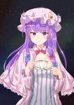 1girl absurdres bangs blue_bow blue_ribbon blunt_bangs bonnet bow bowtie capelet crescent crescent_hair_ornament cup dress eyebrows eyebrows_visible_through_hair frilled_capelet hair_bow hair_ornament hair_ribbon hat hat_ribbon highres long_hair patchouli_knowledge pink_coat pink_hat plate purple_dress purple_hair red_bow red_bowtie red_ribbon ribbon siraele sky solo star_(sky) starry_sky striped striped_dress teacup touhou tress_ribbon upper_body violet_eyes