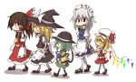 5girls apron ascot bare_shoulders black_eyes blonde_hair brown_hair crystal detached_sleeves flandre_scarlet full_body green_hair hair_over_eyes hair_tubes hakurei_reimu hat hat_ribbon holding_hands izayoi_sakuya kirisame_marisa komeiji_koishi kumo_(atm) long_sleeves looking_at_another maid maid_apron maid_headdress mob_cap multiple_girls open_mouth puffy_short_sleeves puffy_sleeves ribbon short_sleeves silver_hair skirt skirt_set smile third_eye touhou waist_apron walking wings witch_hat yellow_eyes