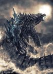 blue_fire breathing_fire cityscape clouds cloudy_sky dated fire from_behind godzilla godzilla_(2014) godzilla_(series) highres kaijuu monster no_humans open_mouth rabidhowl scales sharp_teeth signature sky solo spikes splashing teeth tongue wading water