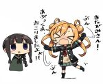 >_< 2girls abukuma_(kantai_collection) black_gloves black_hair blonde_hair braid chibi closed_eyes commentary_request double_bun gloves hair_rings kanikama kantai_collection kitakami_(kantai_collection) long_hair marking_on_cheek multiple_girls neckerchief remodel_(kantai_collection) school_uniform shorts_under_skirt single_braid translation_request violet_eyes
