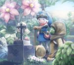 1boy belt bird blonde_hair blue_eyes board_game dragon_quest dragon_quest_builders flower food fruit gloves goggles hammer hat hero_(dqb) highres hk_tagosaku hood_up hooded leaning_on_object monster plant pouch scarf smile standing tombstone tunic weapon