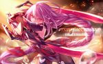 1girl copyright_name dual_wielding hair_ornament holding holding_sword holding_weapon long_hair looking_at_viewer pixiv_fantasia pixiv_fantasia_fallen_kings pointy_ears purple_hair red_eyes solo steelleets sword weapon