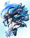 1girl bare_shoulders black_hair boots china_dress chinese_clothes dragon_girl dragon_horns dragon_tail dress fingerless_gloves gloves grin head_fins highres horns karin_(p&d) long_hair pantyhose puzzle_&_dragons side_slit smile solo spiked_knuckles tail very_long_hair water yayilu