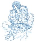2girls bandaged_arm bandaged_head bandaged_leg bbb_(friskuser) boko_(girls_und_panzer) commentary_request doll_hug girls_und_panzer hair_between_eyes hairband long_hair long_sleeves looking_at_viewer monochrome multiple_girls nishizumi_miho on_bed open_mouth pillow pleated_skirt school_uniform serafuku shimada_arisu short_hair side_ponytail skirt smile socks striped striped_legwear stuffed_animal stuffed_toy teddy_bear thigh-highs white_background