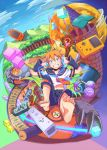 1boy barefoot blonde_hair blue_eyes blush castle claws clouds controller cube full_moon game_boy_color game_controller grin handheld_game_console headphones highres kagamine_len male_focus monster moon playstation_portable potion sagami_hako scroll shield smile staff vocaloid wii_remote