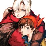2boys bandana blue_eyes brown_gloves brown_hair center_part dragon_quest dragon_quest_viii gloves hair_over_one_eye hero_(dq8) hug kukuru_(dq8) looking_at_viewer looking_to_the_side multiple_boys ponytail simple_background smile upper_body white_background white_hair zakki