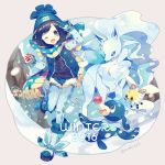 1boy 1girl 2016 ;d alolan_ninetales bangs beanie black_eyes blonde_hair blue_hair blue_legwear bob_cut boots character_request coat cutiefly female_protagonist_(pokemon_sm) fur_trim green_hat hat holding holding_poke_ball long_sleeves looking_at_viewer one_eye_closed open_mouth pantyhose poke_ball pokemon pokemon_(creature) pokemon_(game) pokemon_sm popplio scarf short_hair short_shorts shorts single_mitten smile snow snowing standing standing_on_one_leg twitter_username winter winter_clothes yumenouchi_chiharu