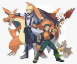 2boys belt bird blonde_hair boots braviary charizard clenched_hand coattails crossover crow_hogan facial_hair facial_tattoo fangs farfetch'd fingerless_gloves gloves jack_atlas jewelry male_focus multiple_boys necklace open_clothes open_mouth open_vest orange_hair outstretched_arm parody pokemon pokemon_(creature) spring_onion style_parody sweatband tattoo torinomaruyaki vest yuu-gi-ou yuu-gi-ou_5d's