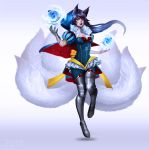 1girl ahri animal_ears black_hair blue_rose boissb boots breasts cleavage commentary cosplay flower fox_ears fox_tail full_body league_of_legends medium_breasts multiple_tails orb puff_and_slash_sleeves puffy_sleeves rose single_glove slit_pupils snow_white snow_white_(cosplay) snow_white_and_the_seven_dwarfs solo tail thigh-highs thigh_boots whisker_markings yellow_eyes