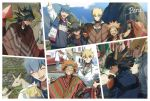 4boys :d ;) black_hair blonde_hair blue_eyes blue_hair choker closed_eyes crow_hogan facial_mark fudou_yuusei grin hair_between_eyes hand_on_hip headband jack_atlas jacket jewelry kiryuu_kyousuke looking_back male_focus market multiple_boys necklace one_eye_closed open_clothes open_jacket open_mouth orange_hair peru photo poncho smile spiky_hair sweatband torinomaruyaki v yuu-gi-ou yuu-gi-ou_5d's