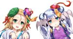 2girls bare_shoulders blonde_hair blue_eyes blush blush_stickers bow braid chinese_clothes claw_(weapon) double_bun green_eyes hair_between_eyes hair_bow hair_ornament haku_(p&d) halloween hat highres jiangshi long_hair looking_at_viewer meimei_(p&d) multicolored_hair multiple_girls off_shoulder ofuda open_mouth outstretched_arms purple_hair puzzle_&_dragons samoore shaded_face silver_hair simple_background turtle_shell twin_braids two-tone_hair weapon white_background wide_sleeves zombie_pose