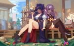 2girls benghuai_xueyuan black_dress black_hair black_legwear black_shoes blue_bow blue_eyes bow breasts cat crossed_legs day dress drill_hair fence flower full_body hair_bow high_heels house japanese_clothes kiana_kaslana kimono kiseru lavender_hair light_smile long_hair long_sleeves looking_at_viewer medium_breasts multiple_girls pipe puffy_short_sleeves puffy_sleeves raiden_mei sash shoes short_dress short_sleeves sitting thigh-highs twin_drills violet_eyes white_shoes wide_sleeves youxuemingdie
