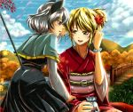2girls :d alternate_costume alternate_hairstyle animal_ears autumn_leaves bead_bracelet beads black_dress blonde_hair blush bracelet capelet clouds cloudy_sky day dress falling_leaves fang futagojima grey_hair hair_tucking japanese_clothes jewelry kimono kinchaku long_sleeves looking_at_another mouse_ears mouse_tail multiple_girls nail_polish nazrin obi open_mouth outdoors parted_lips red_eyes red_nails sash short_hair short_ponytail sky smile tail toramaru_shou touhou wide_sleeves yellow_eyes