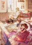 2boys 2girls :d animal animal_on_shoulder barefoot bed bird blonde_hair book brown_eyes brown_hair card cat closed_mouth collared_shirt crossed_legs curtains cushion day flower hair_over_shoulder highres holding indoors long_hair looking_at_another mouth_hold multiple_boys multiple_girls on_bed open_book open_mouth open_window original parted_lips playing_card playing_games rug shirt short_hair short_sleeves sitting smile sweatdrop taku_(fishdrive) wariza white_shirt window wing_collar