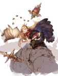 1girl all_fours black_boots black_legwear blonde_hair book boots cagliostro_(granblue_fantasy) cape crown from_behind granblue_fantasy highres junwool knee_boots long_hair looking_back open_book red_skirt simple_background sketch skirt solo thigh-highs very_long_hair violet_eyes
