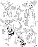 1girl bag braid closed_eyes dress duffel_bag expressions finger_to_mouth from_side greyscale hat highres lamb-oic029 lillie_(pokemon) long_hair monochrome open_mouth pokemon pokemon_(game) pokemon_sm simple_background sleeveless sleeveless_dress sun_hat twin_braids white_background