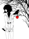 1girl apple bird black_shirt food fruit limited_palette long_sleeves looking_to_the_side mawaru_penguindrum michira_(3chira) necktie oginome_ringo pixel_art sailor_collar school_uniform shirt short_hair simple_background skirt tagme tree tree_branch turtleneck white_background