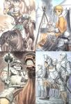6+boys armor bellows berserk black_hair blonde_hair boots bow_(weapon) bowl bowl_cut breastplate campfire cauldron collage cooking corkus crossbow faulds gauntlets gloves hand_on_own_chin helmet highres horse horseback_riding judeau looking_at_viewer male_focus miura_kentarou multiple_boys over_shoulder pauldrons pippin_(berserk) rickert riding scan sitting spaulders spiked_mace spurs sword sword_over_shoulder teeth tent weapon weapon_over_shoulder