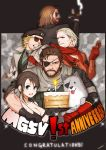 1girl 4boys angry anniversary beard beret big_boss bikini_top blonde_hair blue_eyes brown_hair cake candle cigar clenched_teeth diamond_dog dog eyepatch facial_hair fire flame food gloves hat kazuhira_miller looking_at_viewer mechanical_arm metal_gear_(series) metal_gear_solid_v multiple_boys nagi_(siki2n) ponytail quiet_(metal_gear) revolver_ocelot scar smile sparkle spoilers sunglasses teeth venom_snake