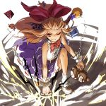 1girl bare_arms belt blonde_hair bow bowtie chain clenched_hand cuffs dated evil_grin evil_smile full_body gourd grin ground_shatter hair_bow highres horn_ribbon horns ibuki_suika long_hair looking_at_viewer low-tied_long_hair nuqura one_eye_closed oni oni_horns punching red_eyes ribbon shirt skirt sleeveless sleeveless_shirt smile solo touhou weights