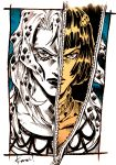 2boys bob_cut bruno_buccellati diavolo hair_ornament hairclip jojo_no_kimyou_na_bouken kotteri lipstick long_hair makeup male_focus monochrome multiple_boys