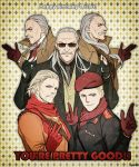 5boys age_progression beard beret blonde_hair catchphrase coat facial_hair finger_gun fingerless_gloves formal gloves grey_hair happy_birthday hat looking_at_viewer male_focus metal_gear_(series) metal_gear_solid metal_gear_solid_3 metal_gear_solid_4 metal_gear_solid_v military military_uniform multiple_boys multiple_persona mustache nagi_(siki2n) revolver_ocelot scarf smile suit sunglasses uniform