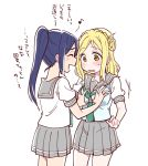 2girls blonde_hair blue_hair blush breast_grab closed_eyes grabbing groping kamui87 long_hair love_live! love_live!_sunshine!! matsuura_kanan multiple_girls ohara_mari open_mouth pleated_skirt ponytail school_uniform simple_background skirt sweatdrop translation_request white_background yellow_eyes yuri