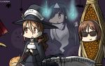 !? 3girls black_hair brown_hair cape commentary dated flying_sweatdrops ghost giving_up_the_ghost hair_over_one_eye halloween hamu_koutarou hat hayashimo_(kantai_collection) highres jack-o'-lantern kantai_collection littorio_(kantai_collection) long_hair multiple_girls natori_(kantai_collection) nattou_costume open_mouth sunglasses sweat triangular_headpiece very_long_hair witch_hat