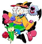 1girl crossover furukawa_(yomawari) highres komeiji_koishi love_ball luvdisc open_mouth poke_ball pokemon pokemon_(creature) roselia woobat