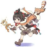 1girl akagi_miria black_hair brown_eyes granblue_fantasy hood idolmaster idolmaster_cinderella_girls mattaku_mousuke open_mouth raccoon_tail red_panda short_hair smile solo tail twintails wand