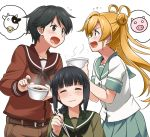 3girls abukuma_(kantai_collection) arguing black_eyes black_hair blonde_hair blue_eyes bowl braid catfight chopsticks closed_eyes cow double_bun eating hair_bun hair_over_shoulder imoni_(food) kantai_collection kitakami_(kantai_collection) mogami_(kantai_collection) multiple_girls pig school_uniform serafuku single_braid spoken_animal youkan