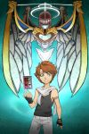 1boy blue_eyes brown_hair crossover guilhermerm kid_icarus kid_icarus_uprising looking_at_viewer persona pit_(kid_icarus) short_hair solo wings